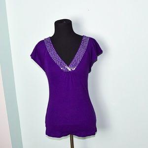 Express Purple Sequin Neckline Blouse